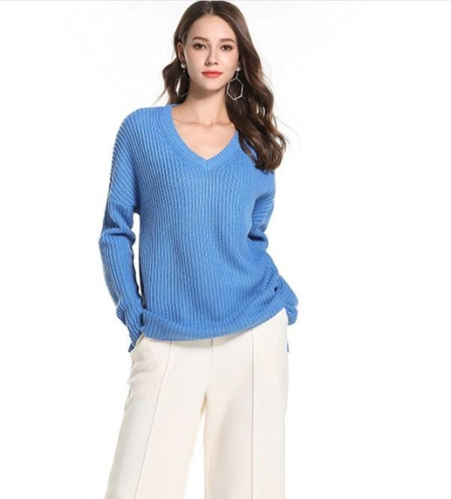 Womens Classic V Neck Sweater