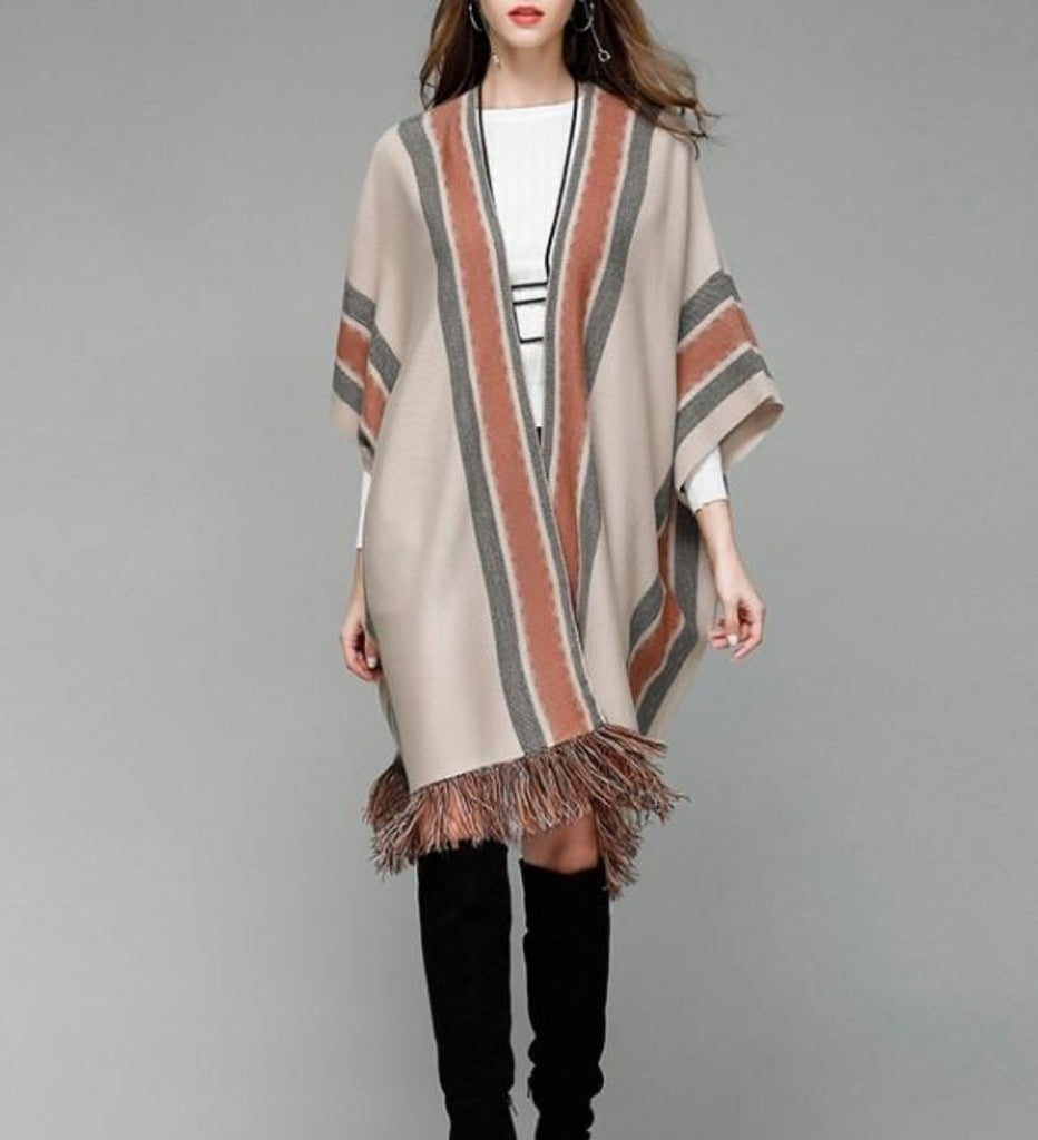 Womens Poncho with Fringed Bottom