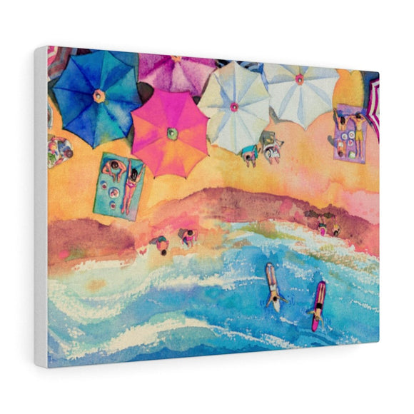 Colorful Day at The Beach Canvas Gallery Wraps Wall Art
