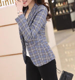 Womens One Button Plaid Blazer