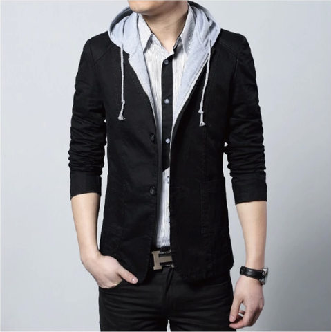 Casual Blazer with Removable Hood