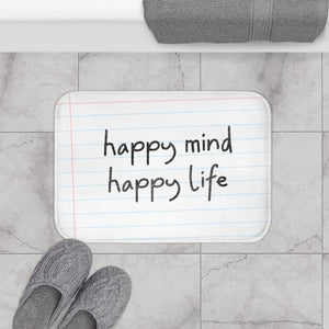Happy Mind, Happy Life Pencil Font Bath Mat