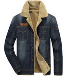 Mens Blue Denim Jacket with Warm Lining - AmtifyDirect