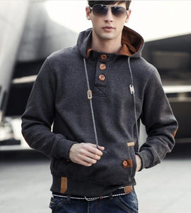 Mens Hoodie with Button up Collar and Drawstring Hood