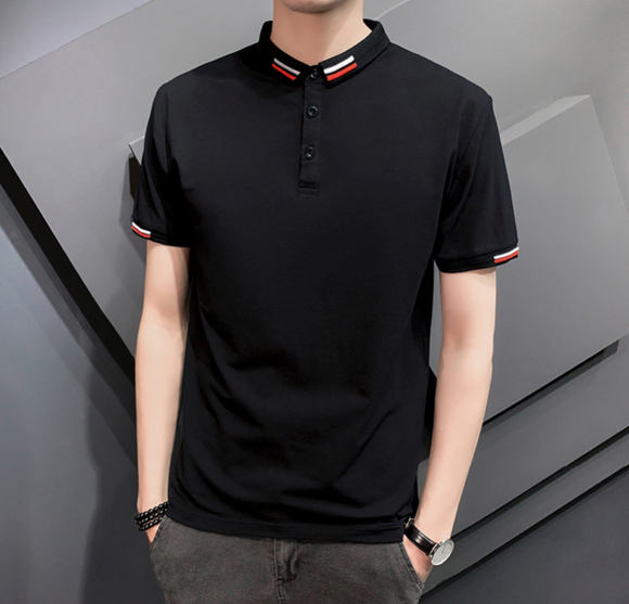 Mens Polo Shirt with Collar and Sleeve Details