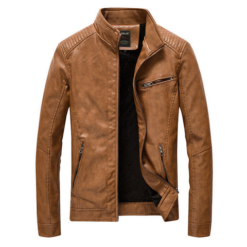 Mens Faux Leather Biker Jacket