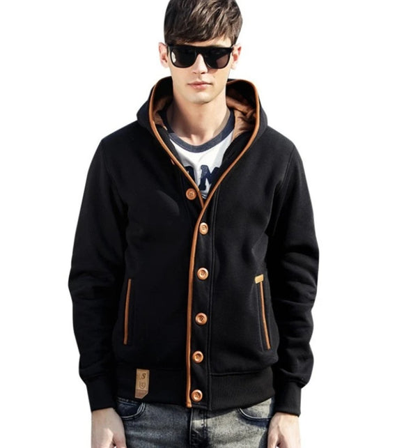 Mens Cardigan Style Hoodie with Elbow Patch Design