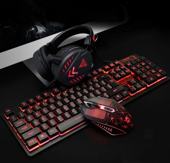 Ninja Dragons Waterproof LED Wired Gaming Keyboard Set with Headset and Mouse