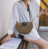 Womens Semi Circle Straw Shoulder Bag
