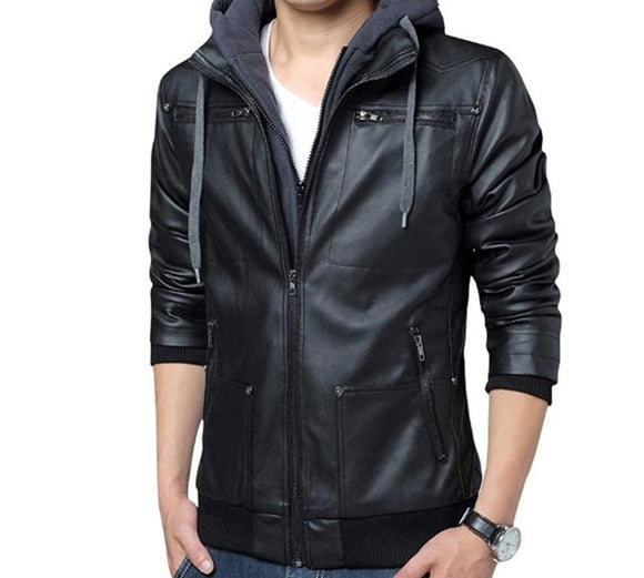 Mens PU Leather Jacket with Removable Hood