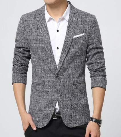 mens black tweed polyester/cotton blend one button houndstooth blazer - AmtifyDirect