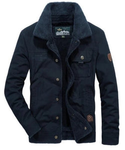 mens navy cotton blend/polyester short winter jacket with warm lining - amtifyDirect