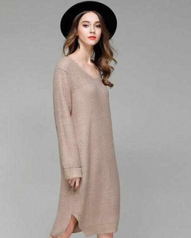Womens V Neck Long Sweater/Dress