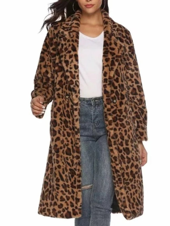 womens faux fur leopard print coat - AmtifyDirect