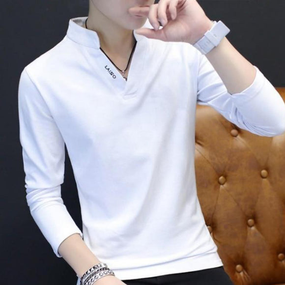 Mens Band Collar Shirt