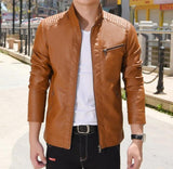 Mens tan faux leather vegan friendly biker jacket - AmtifyDirect