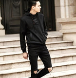 Mens Hoodie with Faux Leather Details