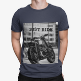 mens gray cotton motorcycle graphic tee shirt - AmtifyDirect