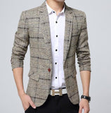 Mens Slim Fit Plaid Blazer