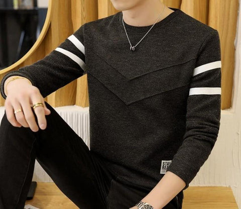 Mens Round Neck Dual Stripe Sweater - AmtifyDirect