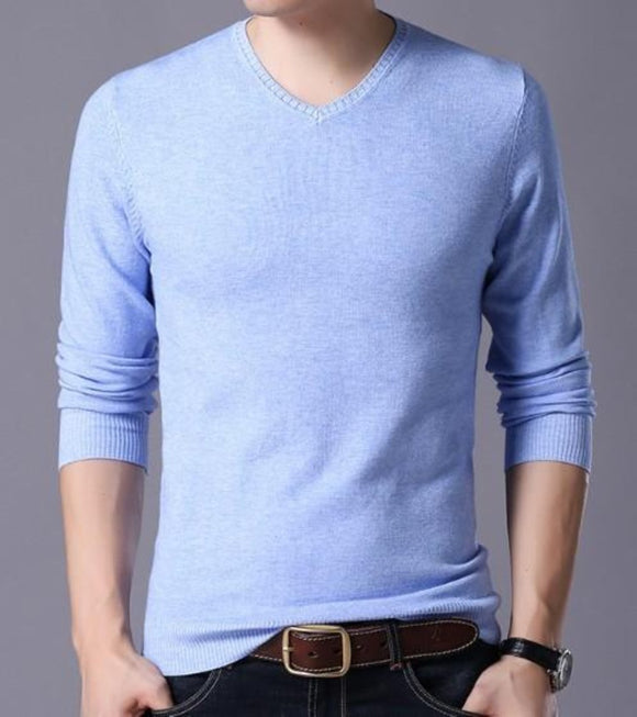 mens blue acrylic blend v-neck sweater - AmtifyDirect