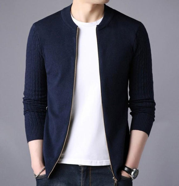 Mens Casual Round Neck Zipper Cardigan - AmtifyDirect