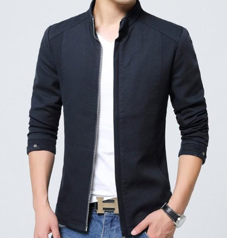 Mens Zip Up Jacket with Stand Up Collar
