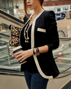 womens black cotton/polyester slim fit blazer