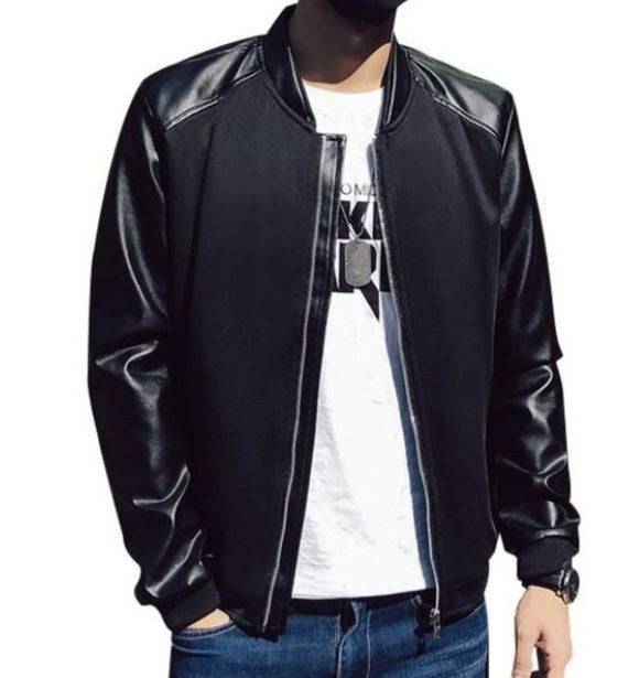 mens black PU leather/cotton blend/polyester bomber jacket - AmtifyDirect