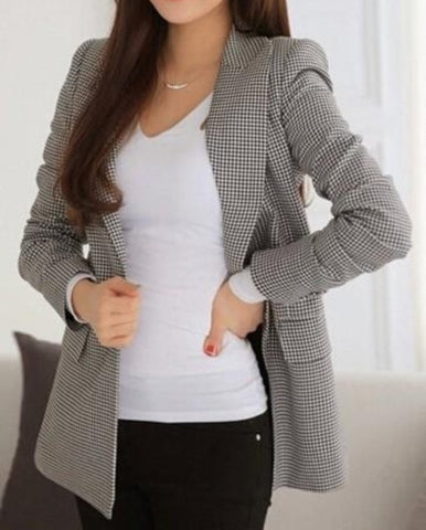 womens checkered cotton blend one button blazer - AmtifyDirect