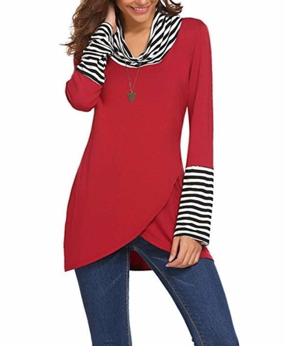 Womens Cowl Neck Casual Long Sleeve Top