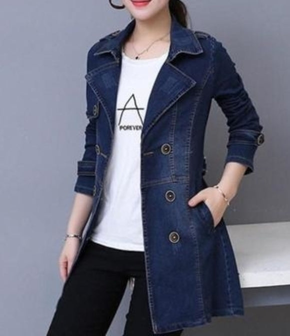 Womens Double Breasted Denim Jacket