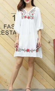 Womens Floral Embroidered Dress