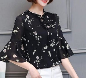 Womens Floral Print Blouse with Bell Sleeve
