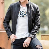 Mens Slim Fit Motorcycle Faux Leather Jacket