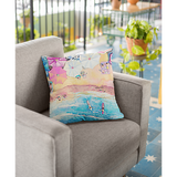 Colorful Day at the Beach Square Pillow - 4 Sizes