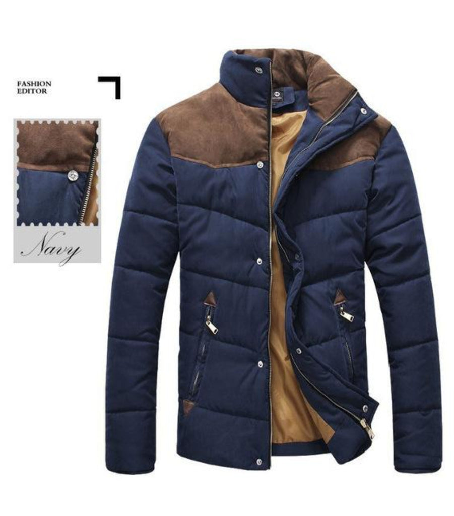 Mens Navy Puffer Jacket with Stand Up Collar and Zippered Pockets - AmtifyDirect