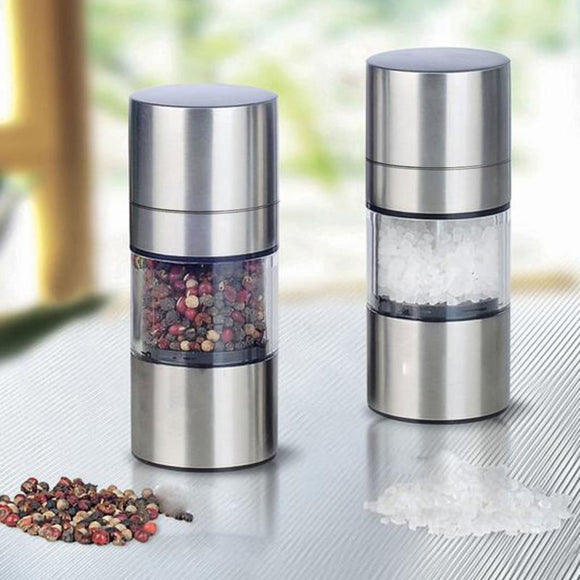 Stainless Steel Manual Salt and Pepper Grinder Set (2 Bottles)