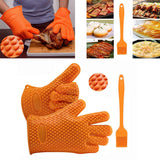Silicone BBQ /Cooking Gloves Plus Silicone Brush Set
