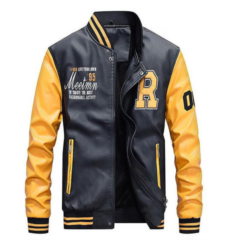 Mens Faux Leather Baseball Jacket