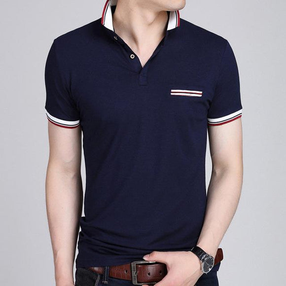mens navy polyester/cotton blend short sleeve poloshirt - AmtifyDirect