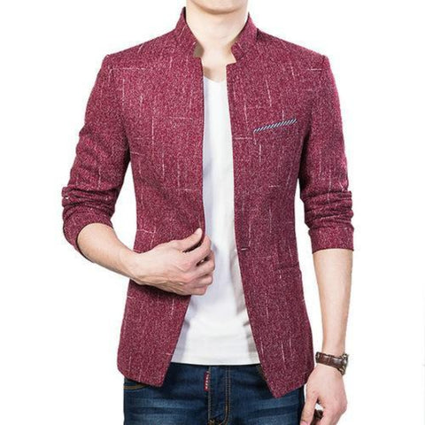 Mens Single Button Stand Up Collar  Blazer