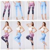womens  floral wide waistband ankle length yoga leggings - AmtifyDirect