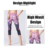 womens pink floral wide waistband ankle length yoga leggings - AmtifyDirect