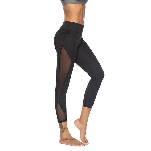 High Waisted Yoga Leggings with Side Mesh
