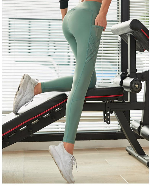 womens green wide waistband pockets yoga leggings - AmtifyDirect