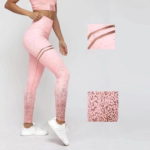 womens pink with gold ombre yoga leggings - AmtifyDirect