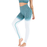 womens green ombre wide waistband yoga leggings - AmtifyDirect