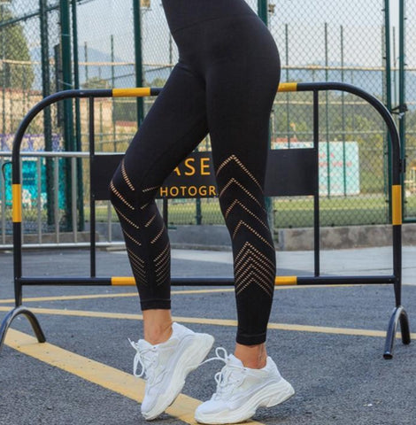 High Waisted Yoga Leggings with Side Details