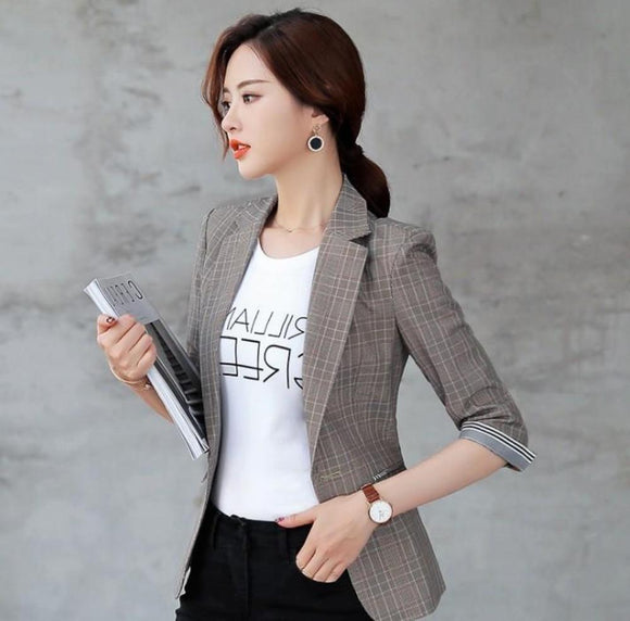 Womens Slim Fit Quarter Sleeve Single Button Blazer